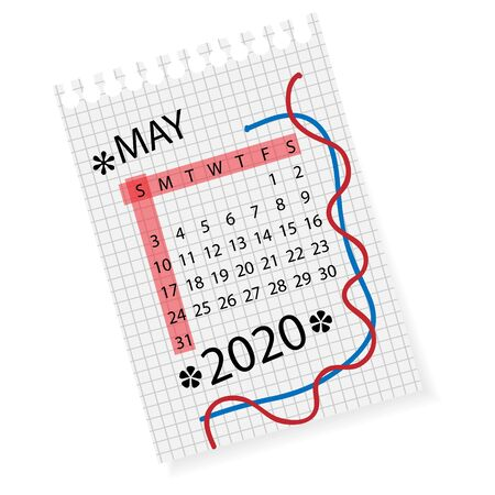Calendar for May 2020. Vector calendar template on checkered sheet of paper. Hand drawn scribble elements. Week starts on Sunday. Illustration