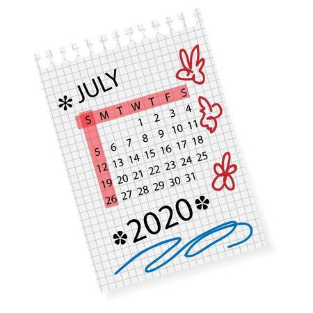 Calendar for July 2020. Vector calendar template on checkered sheet of paper. Hand drawn scribble elements. Week starts on Sunday.