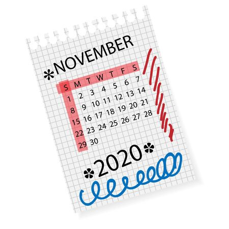 Calendar for November 2020. Vector calendar template on checkered sheet of paper. Hand drawn scribble elements. Week starts on Sunday.