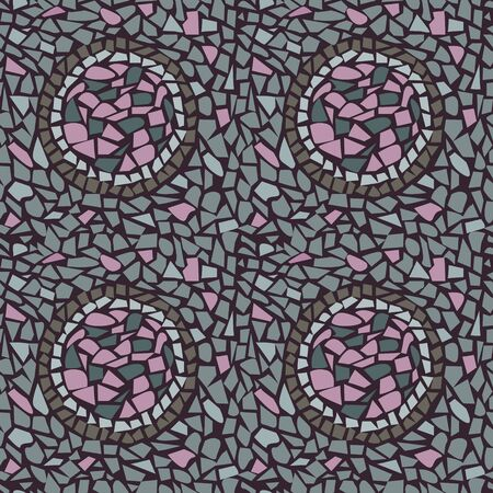 Terrazzo seamless pattern. Geometric vector texture with circular ornament. Stone mosaic for design tile, floor, fabric.