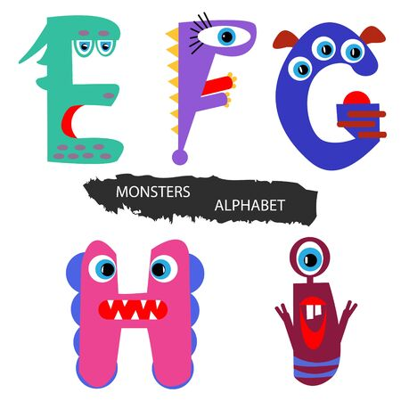 Monsters alphabet. Colorful hand drawn alphabet. Vector set of creative cartoon letters. For children and holiday projects. Ilustração