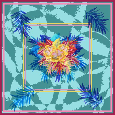 Square flower arrangement. Tropical flowers and leaves on  geometric background. Pattern for printing on scarves, postcards, carpets, bandanas, napkins, home textiles. Vector. Ilustração