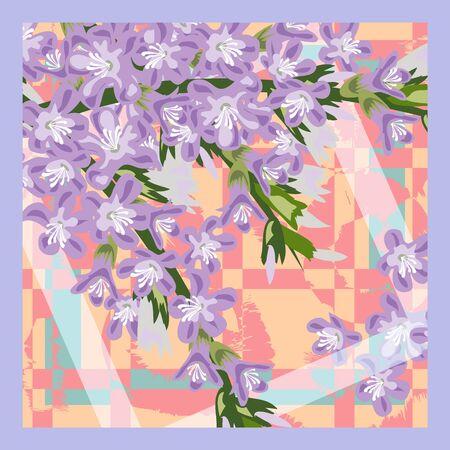 Square flower arrangement. Lilac on  geometric background. Pattern for printing on scarves, postcards, carpets, bandanas, napkins, home textiles. Vector.