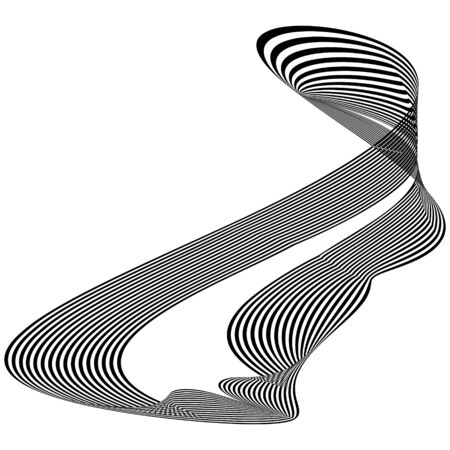 Abstract black and white striped object in the form of  ribbon. Geometric pattern with visual distortion effect. Optical illusion. Op art. Isolated on white background.