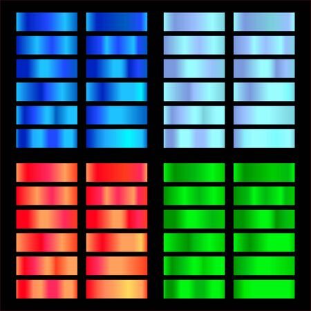 Blue, light blue, green, red gradient. Collection of colorful gradients with  glossy metal texture for design of covers, banners, posters and other creative projects. Illustration