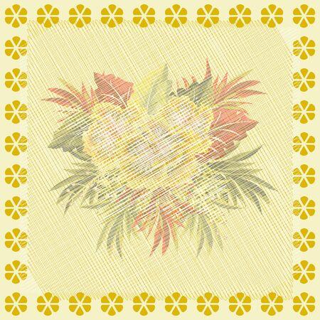 Arreglo floral cuadrado. Patrón floral vintage para imprimir en bufandas, postales, alfombras, bandanas, servilletas, textiles para el hogar, fundas, pareos. Efecto envejecido matizado.