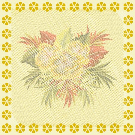 Square flower arrangement. Vintage floral pattern for printing on scarves, postcards, carpets, bandanas, napkins, home textiles, covers, pareos.Subdued aged effect.
