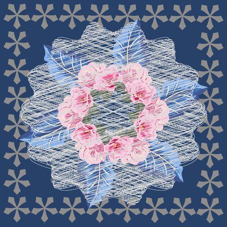 Square flower arrangement. Vintage floral pattern for scarves, postcards, carpets, bandanas, napkins, home textiles, covers, pareos. Subdued aged effect. Pink flowers on blue background. Ilustración de vector