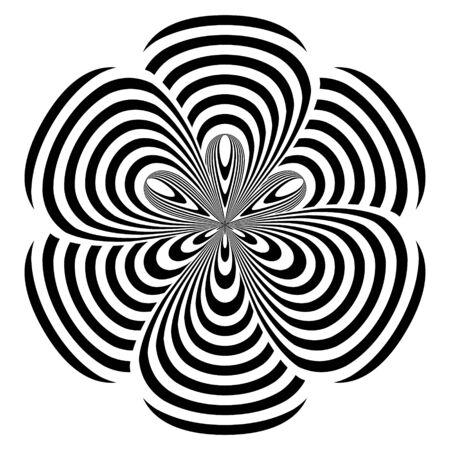 Objet rond abstrait rayé noir et blanc en forme de fleur. Motif géométrique avec effet de distorsion visuelle. Illusion d'optique. Op art. Isolé sur fond blanc. Vecteurs