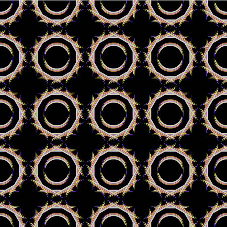 Geometric seamless pattern. Colorful circles of brush strokes on  black background. For printing on fabric, packaging, wallpaper, covers.