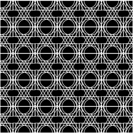 Geometric seamless pattern. Black white vector linear background. Simple thin mesh. For printing on fabric, packaging, wallpaper, covers. Ilustração