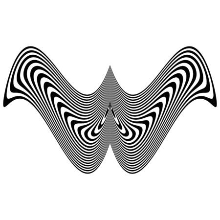 Abstract black and white striped object in  shape of wings.  Geometric pattern with visual distortion effect. Optical illusion. Op art. Isolated on white background.
