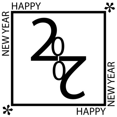 2020. Happy New Year logo design. Black number and text isolated on white background. Vector illustration for cards, labels, holiday projects. Illustration