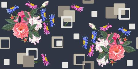 Seamless pattern with beautiful garden flowers and geometric shapes. Flower background for textile, cover, wallpaper, gift packaging, printing. Romantic design for calico, silk. Illustration