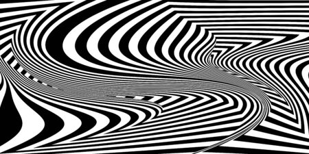 Abstract black and white striped background. Geometric pattern with visual distortion effect. Optical illusion. Op art. 免版税图像 - 132678107