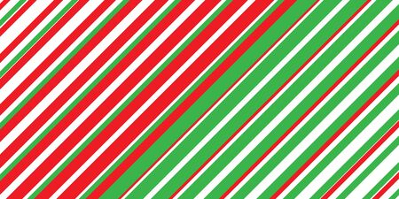 Christmas striped background in traditional red, green and white colors. Festive pattern of diagonal lines for New Year and Christmas projects.