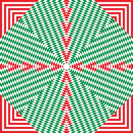 Christmas striped background in traditional red, green and white colors. Festive pattern with op art effect for New Year and Christmas projects.