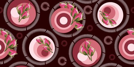 Seamless floral pattern with rose buds and geometric elements. Flower background for textile, cover, wallpaper, gift packaging, printing.Romantic design for calico, silk. Foto de archivo - 134435269