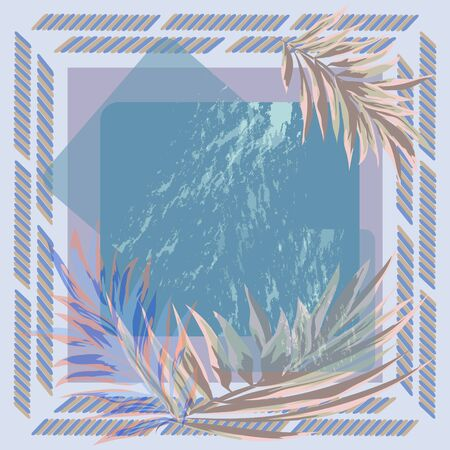 Hand-drawn tropical pattern. Square flower arrangement with palm leaves. Background for printing on scarves, postcards, carpets, bandanas, napkins, home textiles, pareos, hijab, covers.