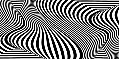 Abstract black and white striped background. Geometric pattern with visual distortion effect. Optical illusion. Op art. 免版税图像 - 134790118