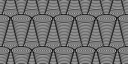 Abstract black and white striped background. Seamless geometric pattern with visual distortion effect. Optical illusion. Op art. Vector Illustration