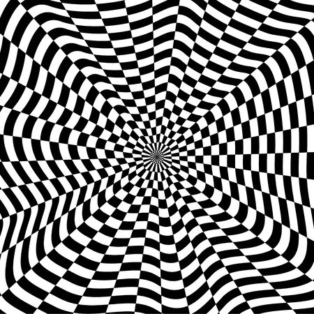 Abstract black and white checkered background. Geometric pattern with visual distortion effect. Optical illusion. Op art.