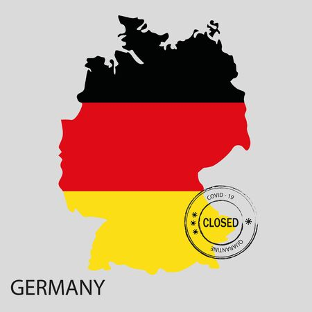 Stamp with word closed on map of Germany painted in colors of national flag. Quarantine notification.Coronavirus covid - 19.