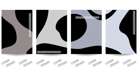 Abstract minimal geometric backgrounds set.Monochrome geometric  pattern with art texture . For printing on covers, banners, sales, flyers. Modern design. Vector. EPS10 向量圖像