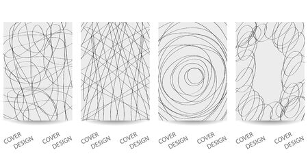 Abstract minimal scribble backgrounds set.Monochrome hand-drawn pattern drawn by  continuous line . For printing on covers, posters, sales, flyers. Modern design. Vector. EPS10