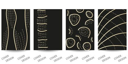 Abstract minimal scribble backgrounds set.Hand-drawn golden lines on  black background.. For printing on covers, posters, sales, flyers. Modern design. Vector. EPS10