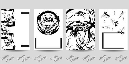 Abstract minimal geometric backgrounds set.Black and white hand-drawn pattern with brush strokes . For printing on covers, posters, sales, flyers. Modern design. Vector. EPS10
