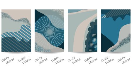 Abstract minimal geometric backgrounds set.Hand-drawn collage with art texture in blue and beige tones . For printing on covers, banners,  sale promotion, flyers. Modern design. Vector. EPS10
