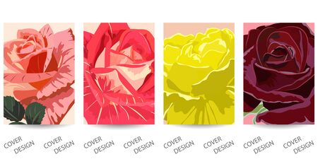 Set of cover template with beautiful roses.Colorful floral background.Close-up.For printing on covers, banners, sales, flyers, booklets, books. Vector. EPS10
