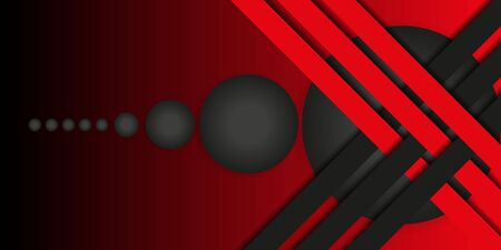 Geometric stylish black and red background. Abstract 3d background with paper cut layers. Vector design element for banners, posters, covers. 向量圖像