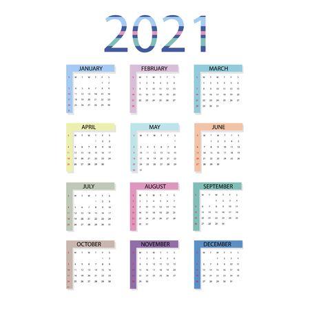 Calendar 2021. Simple minimal design. Week starts from Sunday.