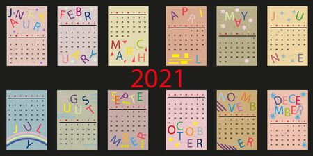Calendar 2021. Simple minimal design. Week starts from Sunday. Set of 12 months isolated on black background.