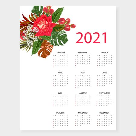 Calendar 2021. Simple minimal design with floral print. Week starts from Sunday. 向量圖像