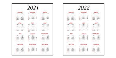 Calendar 2021.Calendar 2022. Simple minimal design. Week starts from Sunday.