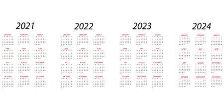Calendar 2021.Calendar 2022.Calendar 2023. Calendar 2024.Simple minimal design. Week starts from Sunday.