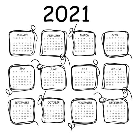 Calendar 2021. Black and white vector template with square frames in doddles style. Week starts on Sunday.