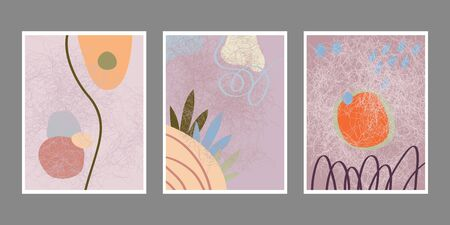 Set of artistic creative universal cards. Hand drawn texture. Design for poster, postcards, invitations, brochures, leaflets. Bright geometric pattern with doodles elements . Vector. 向量圖像