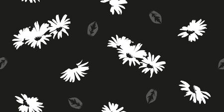 Hand-drawn seamless pattern with floral print. Abstract white daisies on  black background. Vector pattern for printing on fabric, gift wrapping, covers, wallpapers. 向量圖像