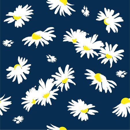 Hand-drawn seamless pattern with floral print. Abstract white daisies on  blue background. Vector pattern for printing on fabric, gift wrapping, covers, wallpapers. 向量圖像