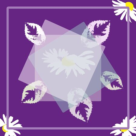Square flower arrangement. Beautiful white daisies and leaves on geometric background. Pattern for printing on scarves, postcards, carpets, bandanas, napkins, home textiles. Vector. 向量圖像