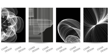 Abstract minimal geometric backgrounds set.Black and white geometric pattern with  texture from thin lines . For printing on covers, banners, sales, flyers. Modern design. Vector. EPS10