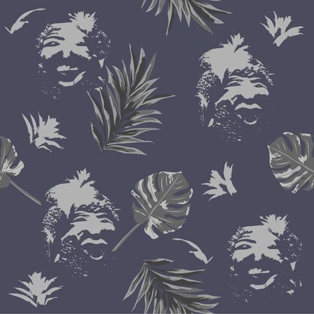 Seamless art pattern with print of tropical leaves and abstract portraits of primitive people. Hand-drawn background for printing on fabric, clothing, home textiles, wallpaper, gift wrapping.
