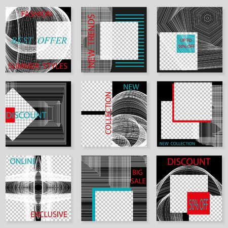 Set of square templates for social media design. Vector background for social networks. Abstract minimal design.Thin white grid on black background with  place for photos.