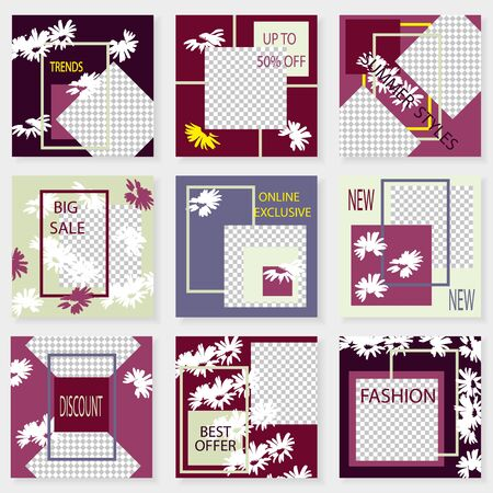 Set of square templates for social media design. Vector background for social networks. Abstract minimal design.White camomiles on  geometric background with place for photos.