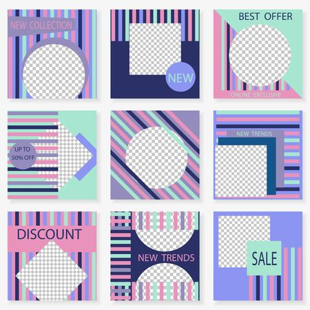 Set of square templates for social media design. Vector geometric background for social networks. Abstract minimal design.Colorful striped design with place for photos. 向量圖像