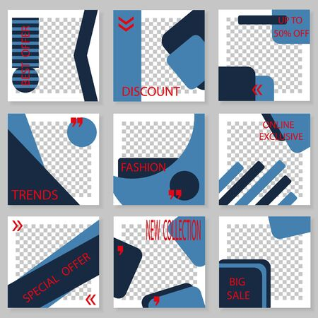 Set of square templates for social media design. Vector  background for social networks. Abstract minimal design.Geometric design with place for photos.
